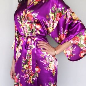 Purple Floral Kimono/Purple Satin Robe